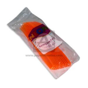 tenedor desechable de colores neón N°007 Sempertex 12 unidades naranja Neón