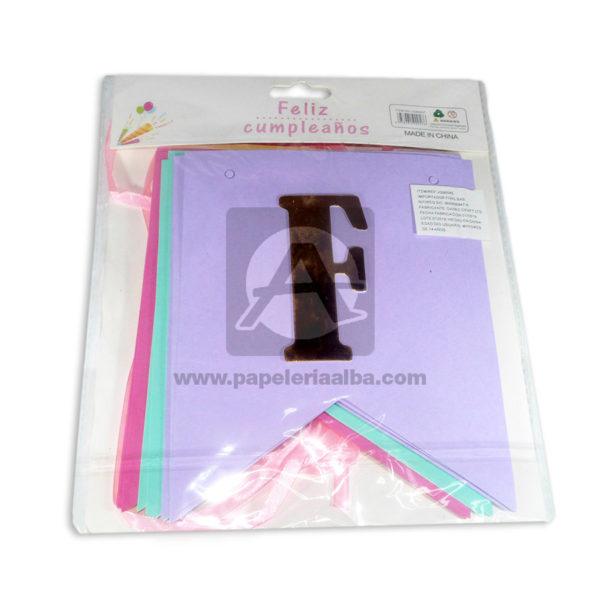 Banderín pendón dos puntas Feliz Cumpleaños Fival Grande Niña Multicolor Pastel
