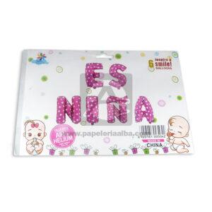 Globo baby shower Es Niña Fival 6 unidades Niña Fucsia