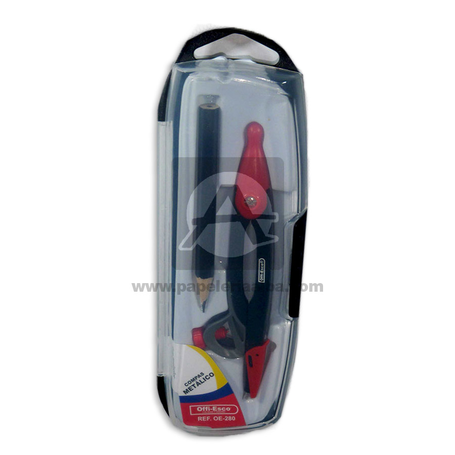 compas  escolar OE-280 con lápiz Offi- Esco Gris Metálico Pequeño