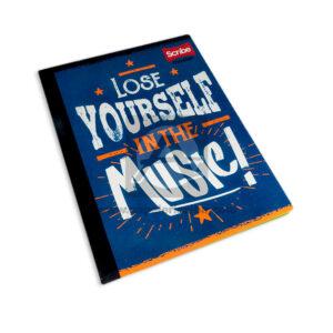 cuaderno cosido Master Lose Yourself in the Music Scribe 50 hojas cuadriculado Grande Niño