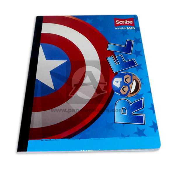 cuaderno cosido Master MH-S Personajes de Marvel Capitan America Scribe 50 hojas rayado Grande Niño