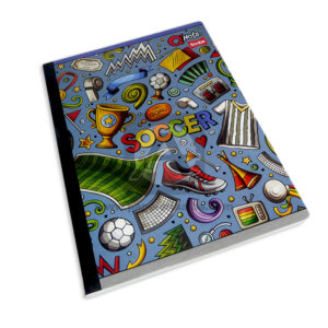 cuaderno cosido Q´Nota Motivo objetos de fútbol Scribe 50 hojas rayado Grande Niño
