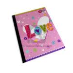 cuaderno cosido  Q´Nota Palabra Love de Colores Variados  Scribe 50 hojas rayado Grande Niña