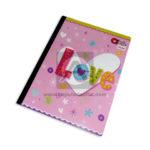 cuaderno cosido  Q´Nota Palabra Love de colores variados Scribe 50 hojas Niña  cuadriculado Grande