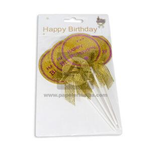 decoración de comida para torta happy birthday redondo Fival Dorado Escarchado 4 unidades