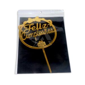 decoración de comida para tortas letrero Feliz Cumpleaños Fival Dorado unisex Mediana