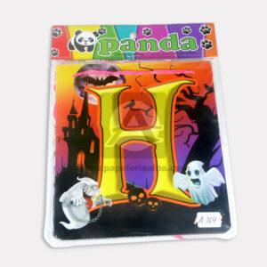 guirnalda de cuadros Letras Halloween Panda Mediano naranja Negro