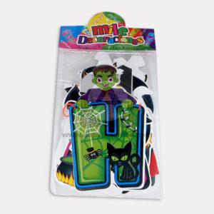 guirnalda de letras Halloween con personajes Mile Decoraciones Multicolor Mediano