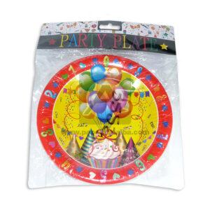 plato decorado Globos y pastel de cumpleaños Cuantias Multicolor Rojo 12 unidades