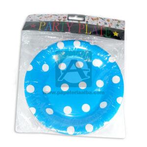 plato decorado con puntos Party Plate Cuantias Azul Cielo unisex 12 unidades