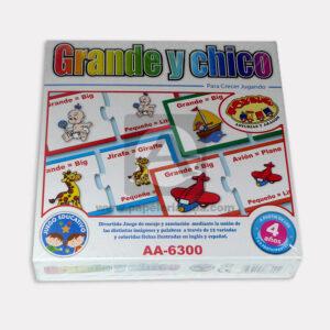 rompecabeza didáctico infantil reconociendo Grande y Chico Cuantias + 4 Años Caja Mediano