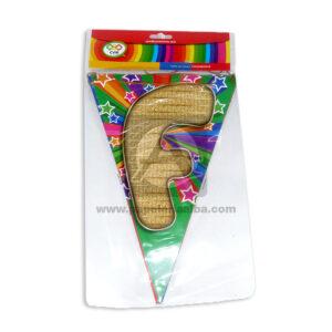 Banderín navideño letrero feliz navidad C y M Multicolor Grande