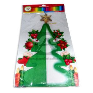 arbol navideño figura 3D con decoración y estrella C y M verde Grande