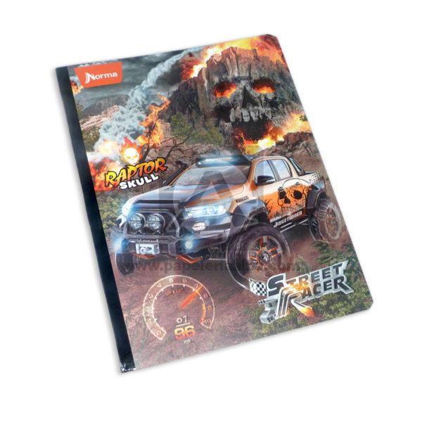 cuaderno cosido con stickers modelo street racer Norma Niño 50 hojas rayado Grande