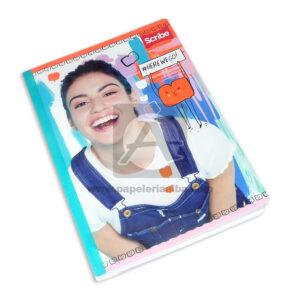 cuaderno cosido con stickers motivo personajes de disney Scribe Grande cuadriculado 50 hojas Niña