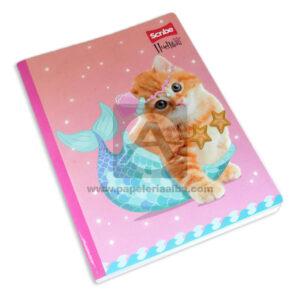 cuaderno cosido fino Linea Huellitas Gato Sirena Scribe Grande 100 hojas cuadriculado Niña