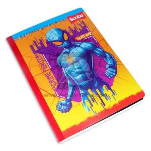 cuaderno cosido fino con relieve Spiderman Miles Morales Scribe Grande 100 hojas cuadriculado Niño