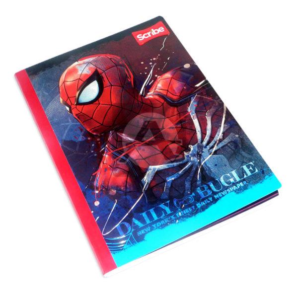 cuaderno cosido fino con sticker Spiderman Scribe Grande 100 hojas cuadriculado Niño