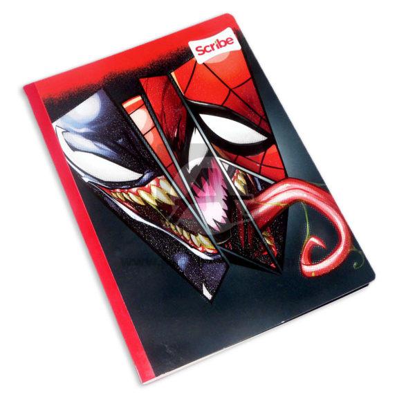 cuaderno cosido fino con sticker Spiderman y Venom Scribe Grande 100 hojas rayado Niño