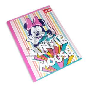 cuaderno cosido fino con stickers Minnie Mouse Rayas Scribe Grande 50 hojas rayado Niña