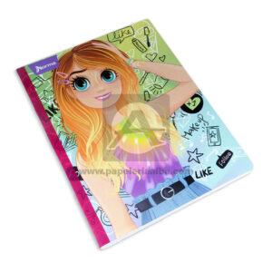 cuaderno cosido fino motivo Bonequinhas Like Follow Norma Grande 100 hojas rayado Niña