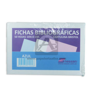 ficha bibliográfica de cartulina bristol Nessan Azul 10x15cm 1 unidad