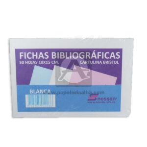 ficha bibliográfica de cartulina bristol Nessan Blanca 10x15cm 1 unidad