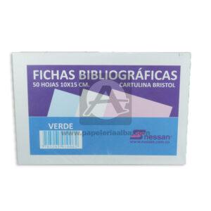 ficha bibliográfica de cartulina bristol Nessan verde 10x15cm 1 unidad