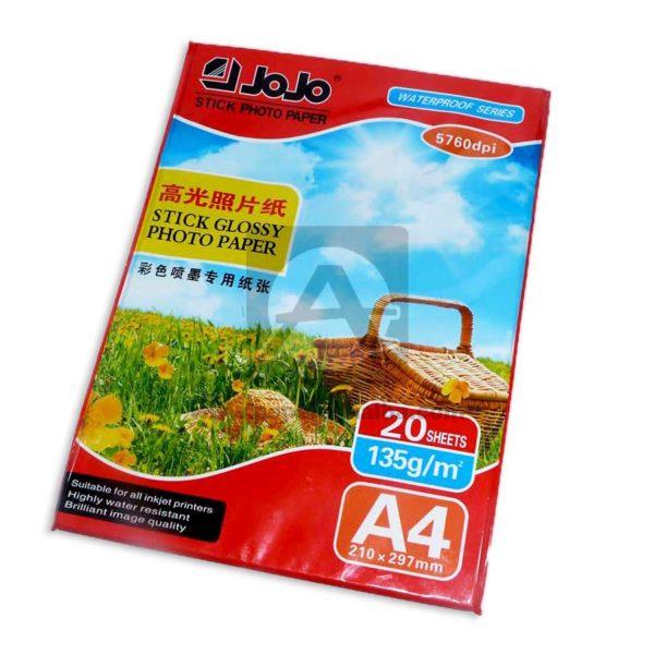 papel Adhesivo JOJO135 Fotográfico 135 gramos 20 unidades Carta