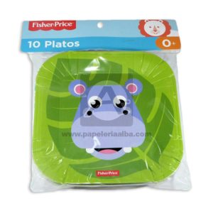 plato decorado Cuadrado Motivo Hipopótamo Fisher Price Pequeño 10 unidades unisex