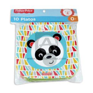 plato decorado Cuadrado Motivo Panda Fisher Price Pequeño 10 unidades unisex
