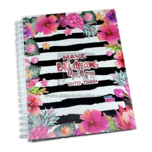 universitaria agenda Big Dreams Crazy's Love Grande 7 materias Argolladas femenino