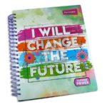 universitaria agenda  Change Flower Power Primavera Grande 7 materias Argolladas femenino