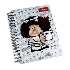 universitaria agenda Mafalda Primavera Pequeña 7 materias Argolladas pasta dura femenino