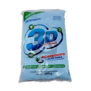 Jabon en Polvo Detergente Bicarbonato + Aloe Vera 3D 500 Gramos 1 unidad