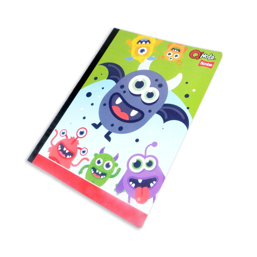 cuaderno cosido económico  QNota Monstruos Scribe cuadriculado 50 hojas Grande Niño