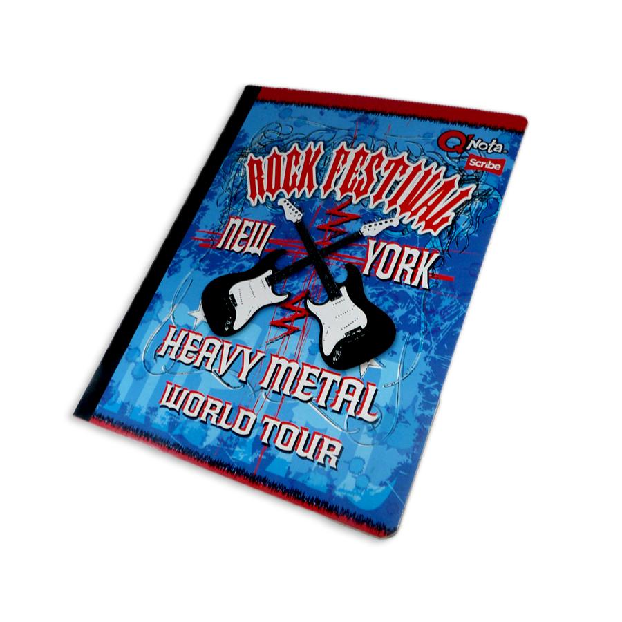 cuaderno cosido económico  QNota Rock Festival New York Scribe doble linea 50 hojas Grande masculino