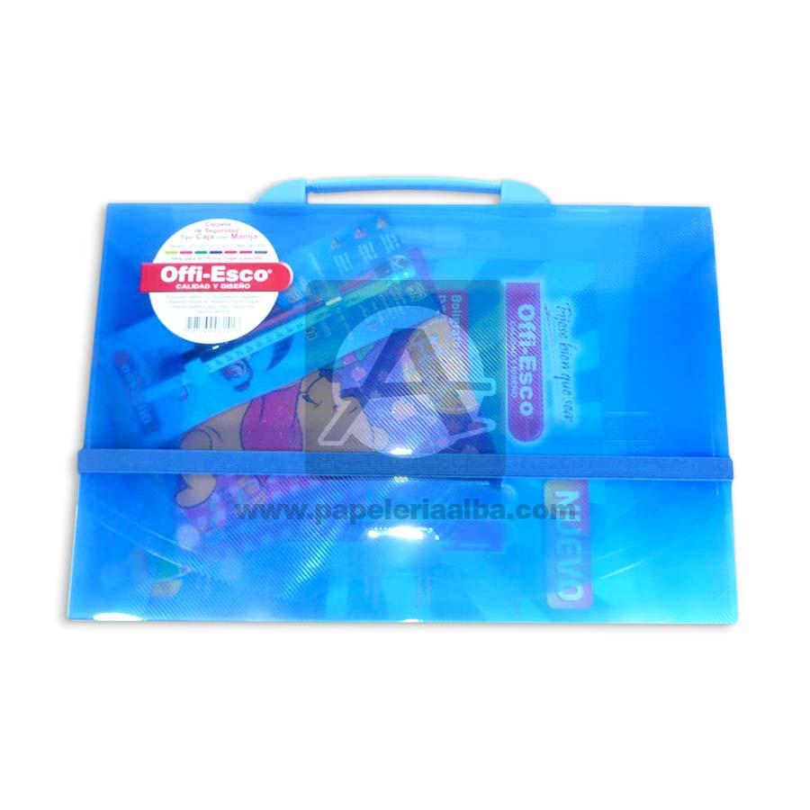 carpeta  de seguridad con manija tipo maletín Offi- Esco Oficio Azul