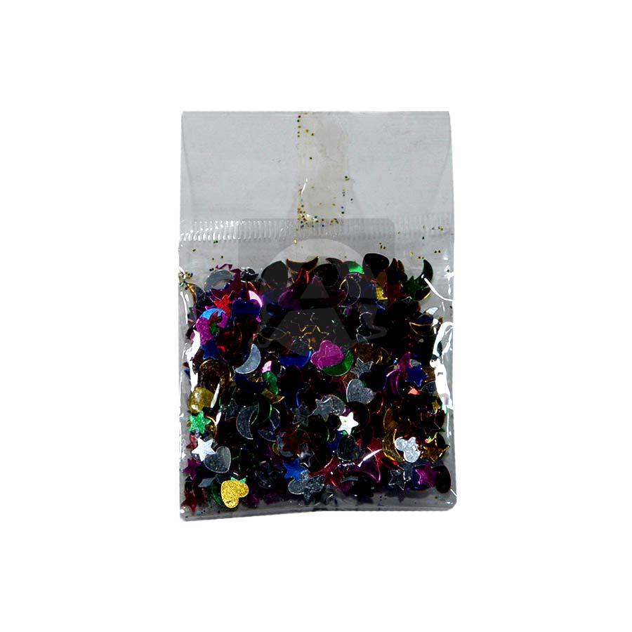 Confetti  Surtido Estrellas Corazones y Lunas Mini en sobre  Metalizado Multicolor