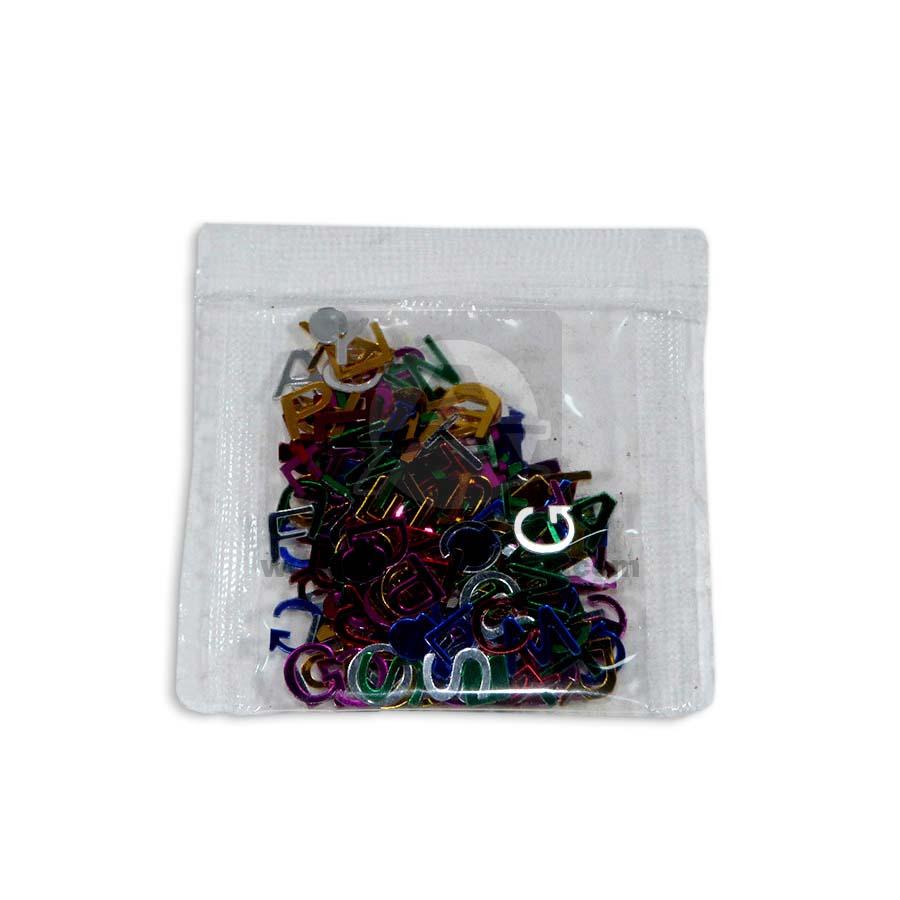 Confetti  Letras Mini en sobre  Metalizado Multicolor