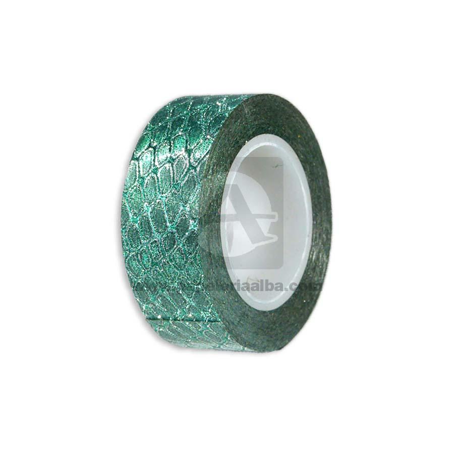 cinta decorativa  1 cm de ancha con grabados  Escarchado verde
