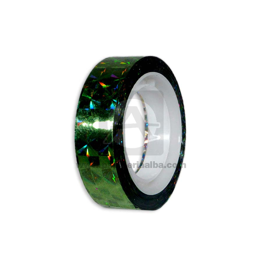 cinta decorativa  Adhesiva Holográfica 12mm x 15 metros  Metalizado verde
