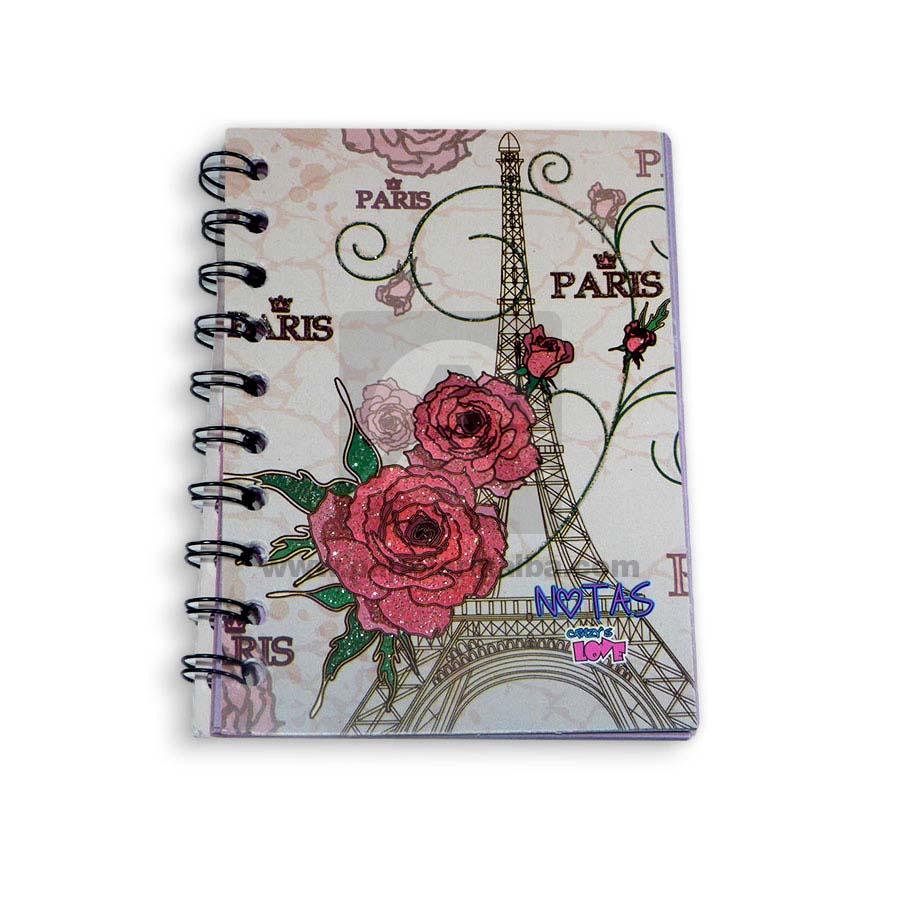 cuaderno argollado  mini anotaciones económico Crazy's Love Pequeño cuadriculado femenino